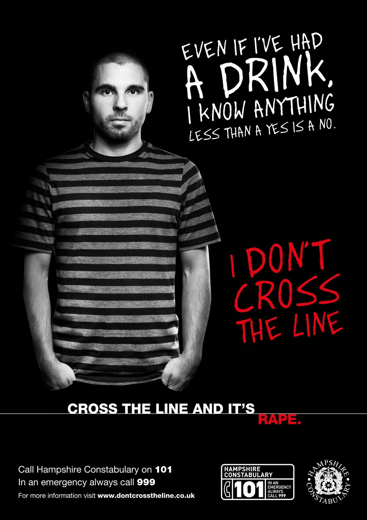 Andover Polcie Campaign Cross the Line and its Rape