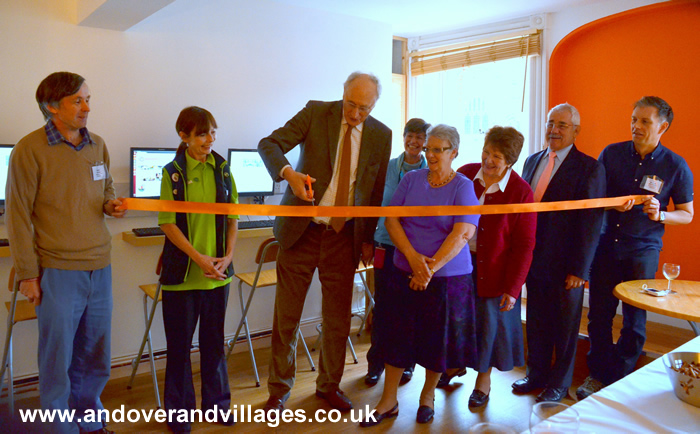 Sir George cuts tape for Orange Room at the Bridge in Andover