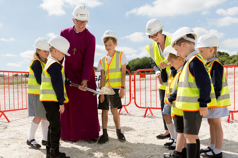 Education News |  Pupils Join Bishop for Turf Cutting Ceremony| Andover & Villages