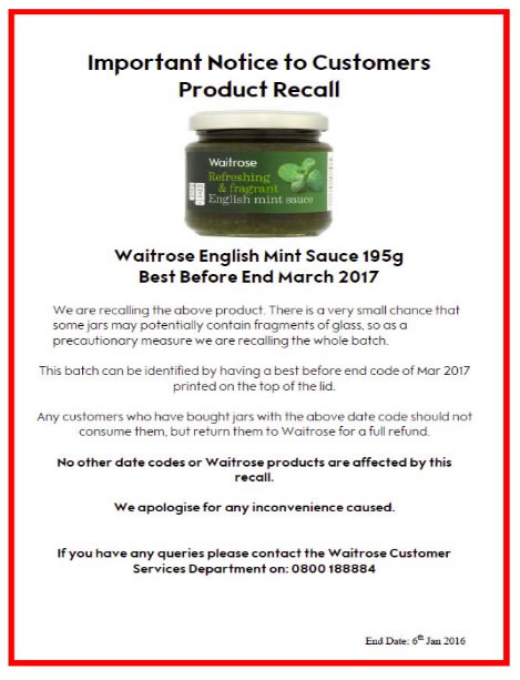 Local News | Waitrose English Mint Sauce Recalled | Andover & Villages