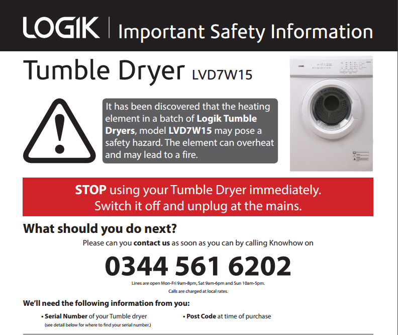 Andover News | Currys Recall Logik Tumble Dryer Over Fire Risk