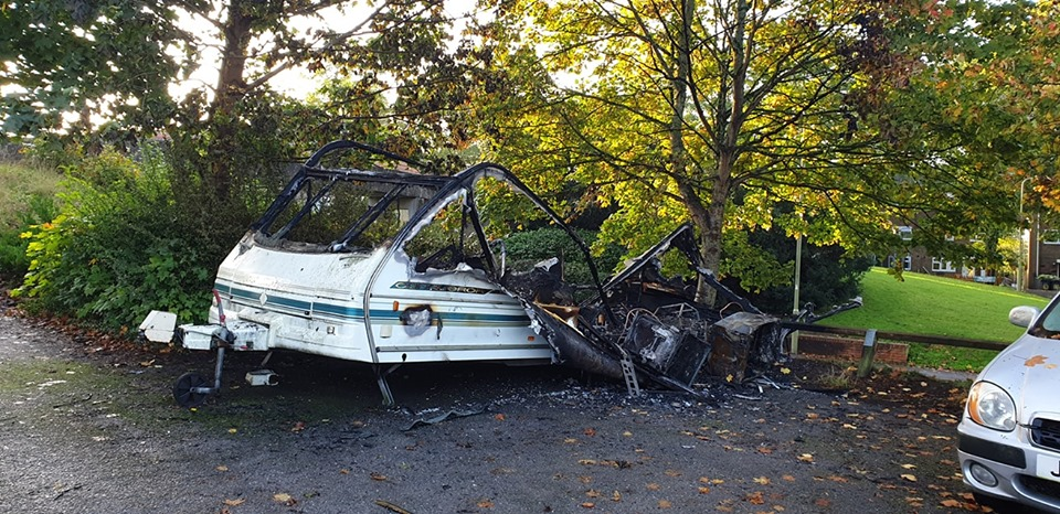 Burned Out Caravan in the Merlin Car Park of King Arthurs Way