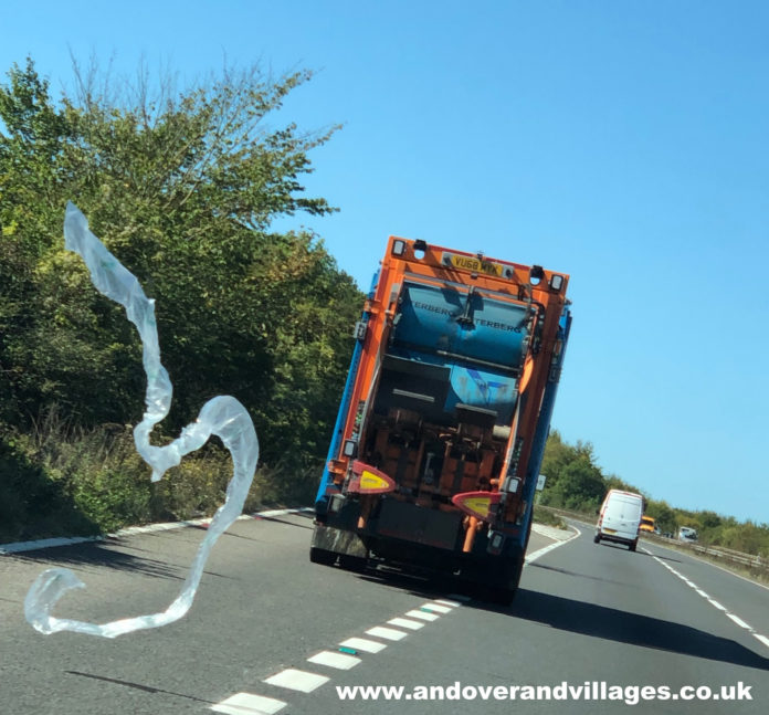 Test Valley Borough Council Dustbin Lorry Dumps Rubbish on A303