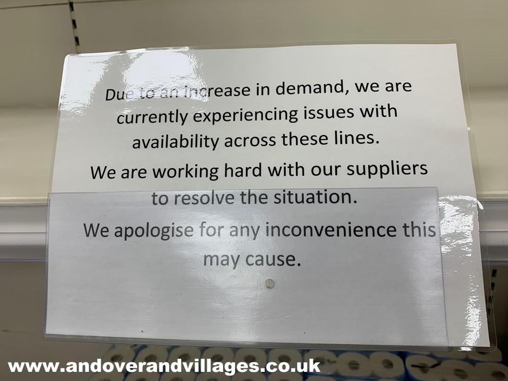 Panic buying warning sign andover tesco