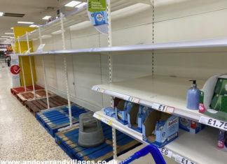 Coronavirus Andover Tesco Extra Empty Shelves