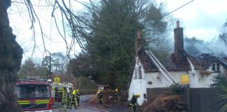 Longparish thatch fire causes closure of B3048